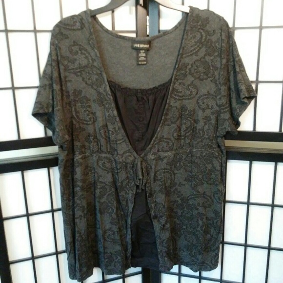 9a4738a7f8223d Lane Bryant Tops   Gray Floral Top W Layered Look 1820   Poshmark
